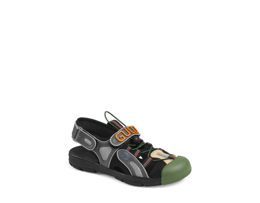 bf1a477f5640d Lyst - Gucci Black Tinsel Sandals in Black for Men - Save 29%