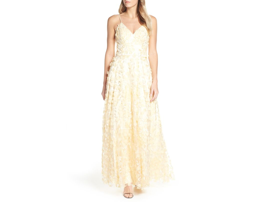 Lyst eliza j floral appliqué evening dress in natural