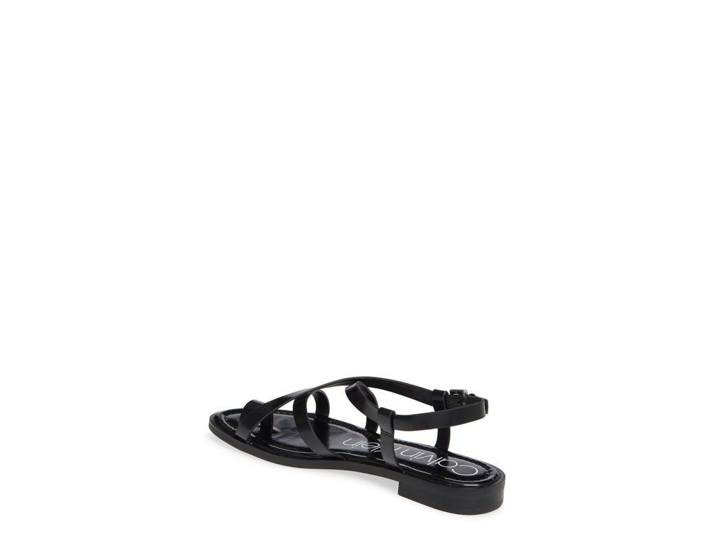d5fe6748023 Calvin Klein Tica Flat Sandals in Black - Save 40% - Lyst