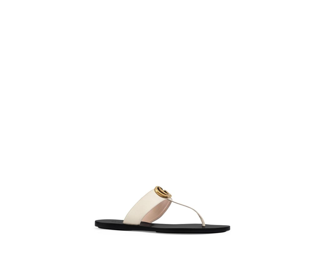 bccf65cc9dbd2 Lyst - Gucci 10mm Marmont Leather Thong Sandals in White - Save 22%