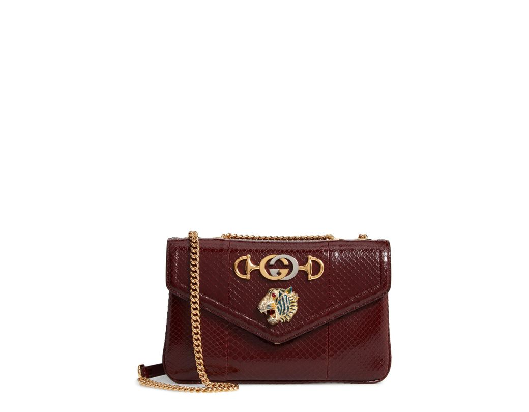 cd60a633fa20 Lyst - Gucci Rajah Genuine Python Large Tote - in Red