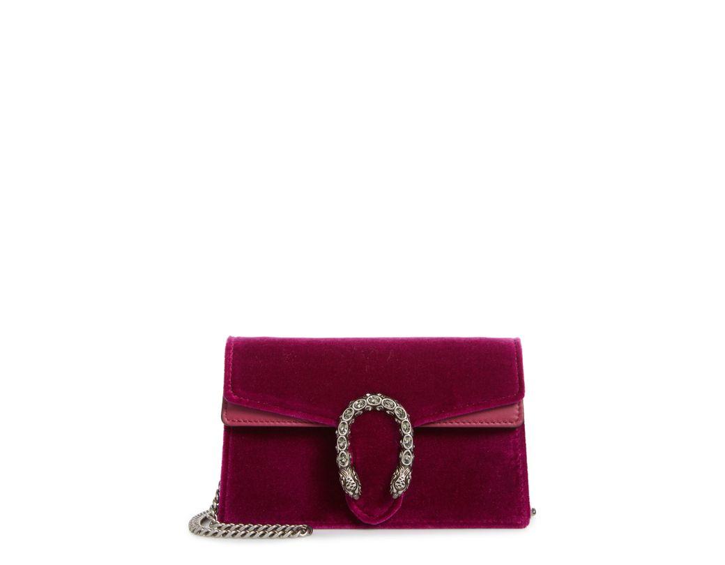 04e8fa81d53 Lyst - Gucci Super Mini Dionysus Velvet Shoulder Bag - in Blue