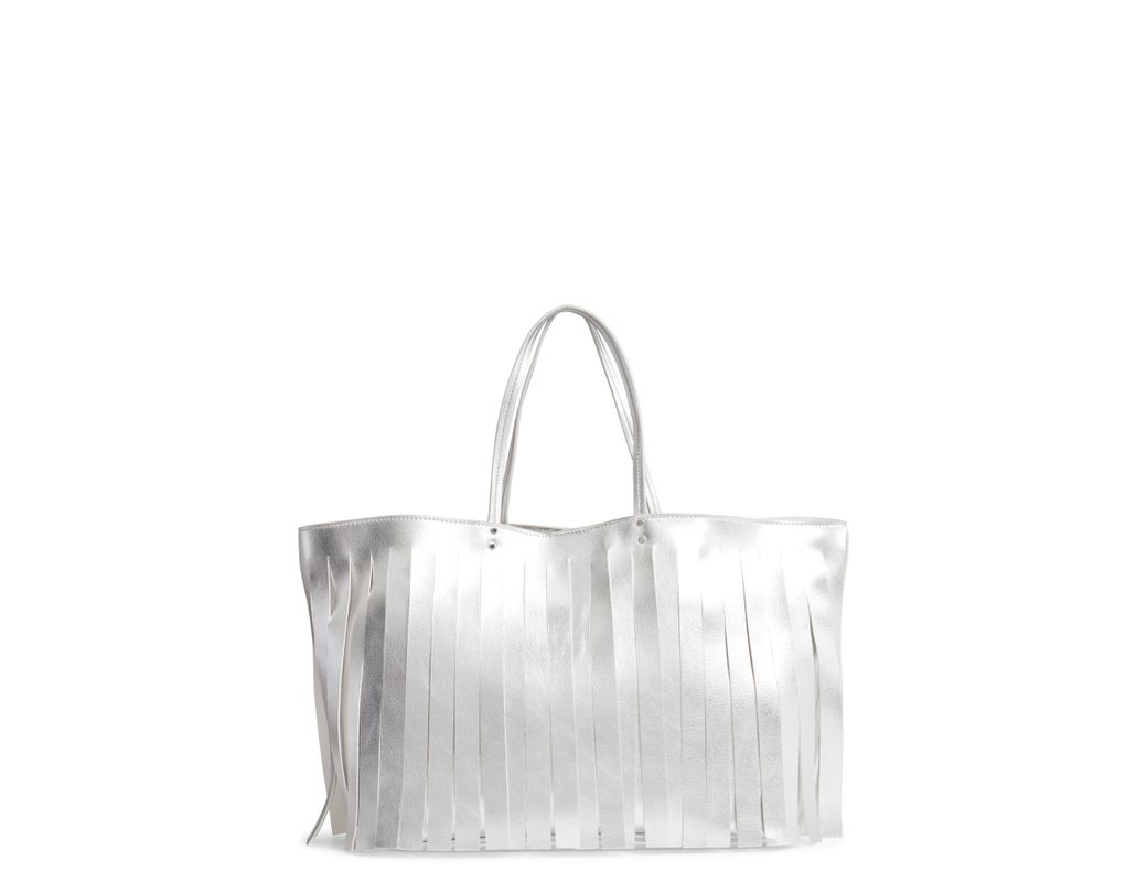 3af96c1c833 Lyst - Steve Madden Corrie Fringe Faux Leather Tote - in White ...