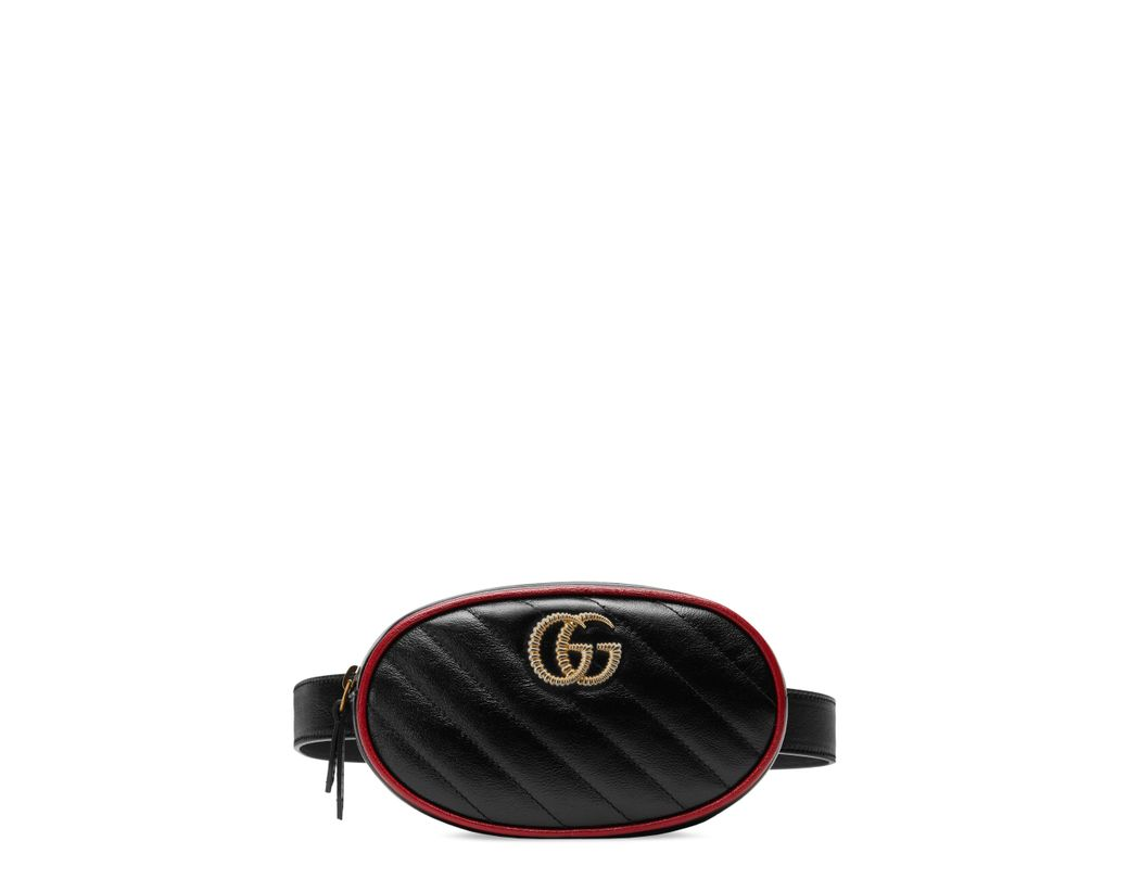 01d0a3b9e68 Lyst - Gucci Gg Marmont Matelassé Leather Belt Bag - in Black