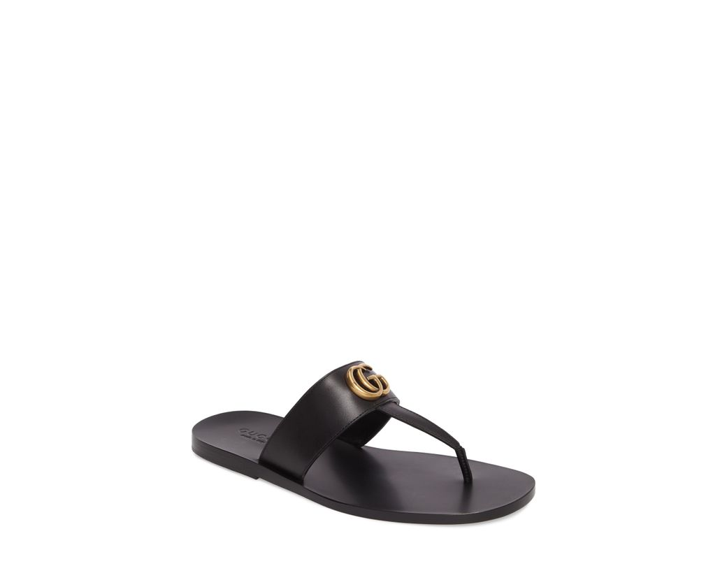 3d18a225f23 Lyst - Gucci Marmont Double G Leather Thong Sandal in Black for Men