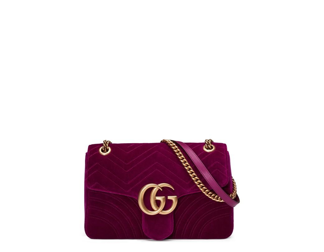 0e0f8dc0835 Gucci. Women s Purple Medium Gg Marmont 2.0 Matelassé Velvet Shoulder Bag
