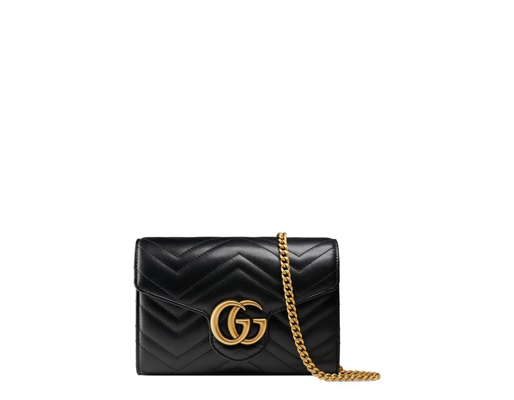 c1f27e92839 Lyst - Gucci Gg Marmont Matelassé Leather Wallet On A Chain in Black