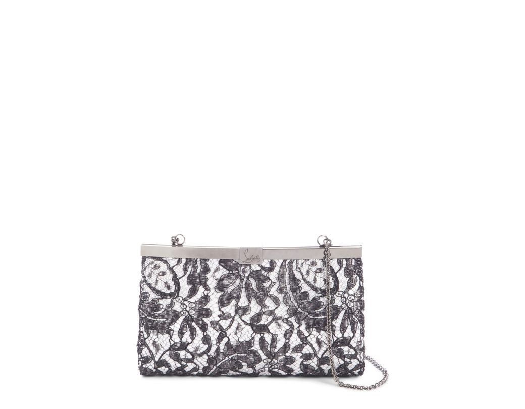 a564f31d847 Lyst - Christian Louboutin Palmette Lace Overlay Frame Clutch -