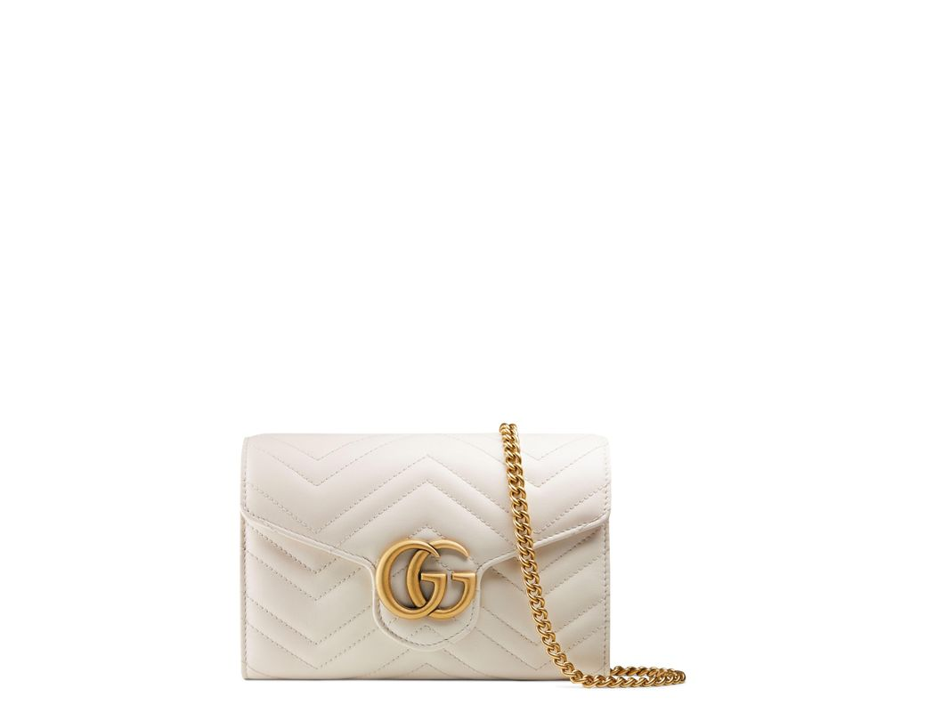 bb59910848c Long-Touch to Zoom. Long-Touch to Zoom. 1  2. Gucci - White GG Marmont  Chevron Quilted Leather Flap Wallet ...