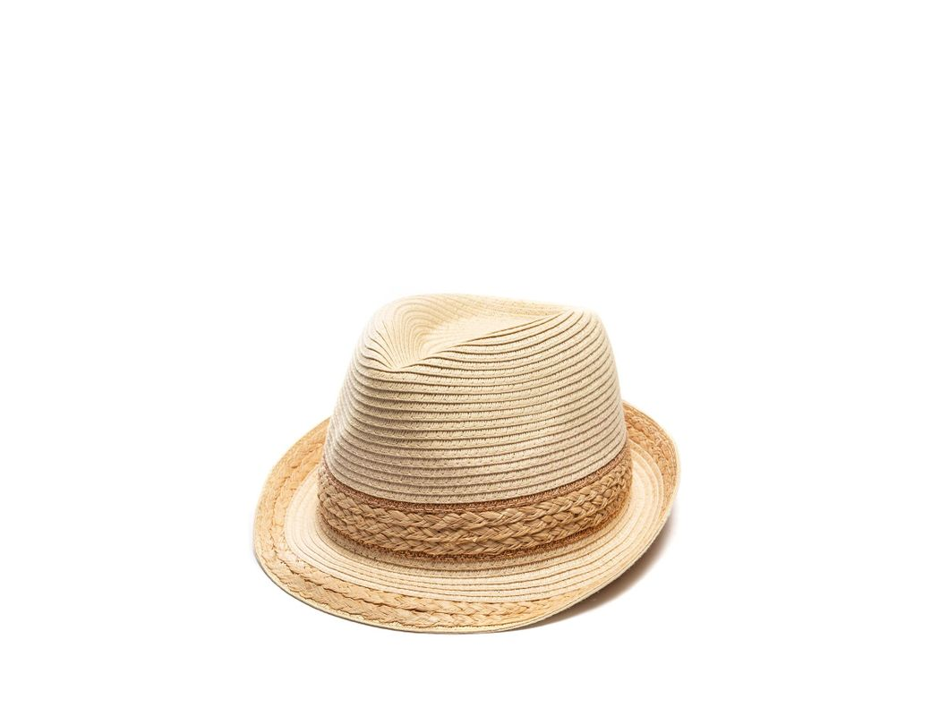 fc2195e3a Lyst - Vince Camuto Mixed Braid Fedora in Natural