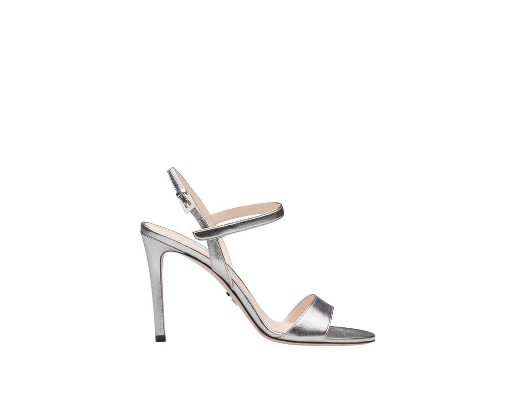 50b99bf6c Lyst - Prada Pearly Laminated Leather Sandals