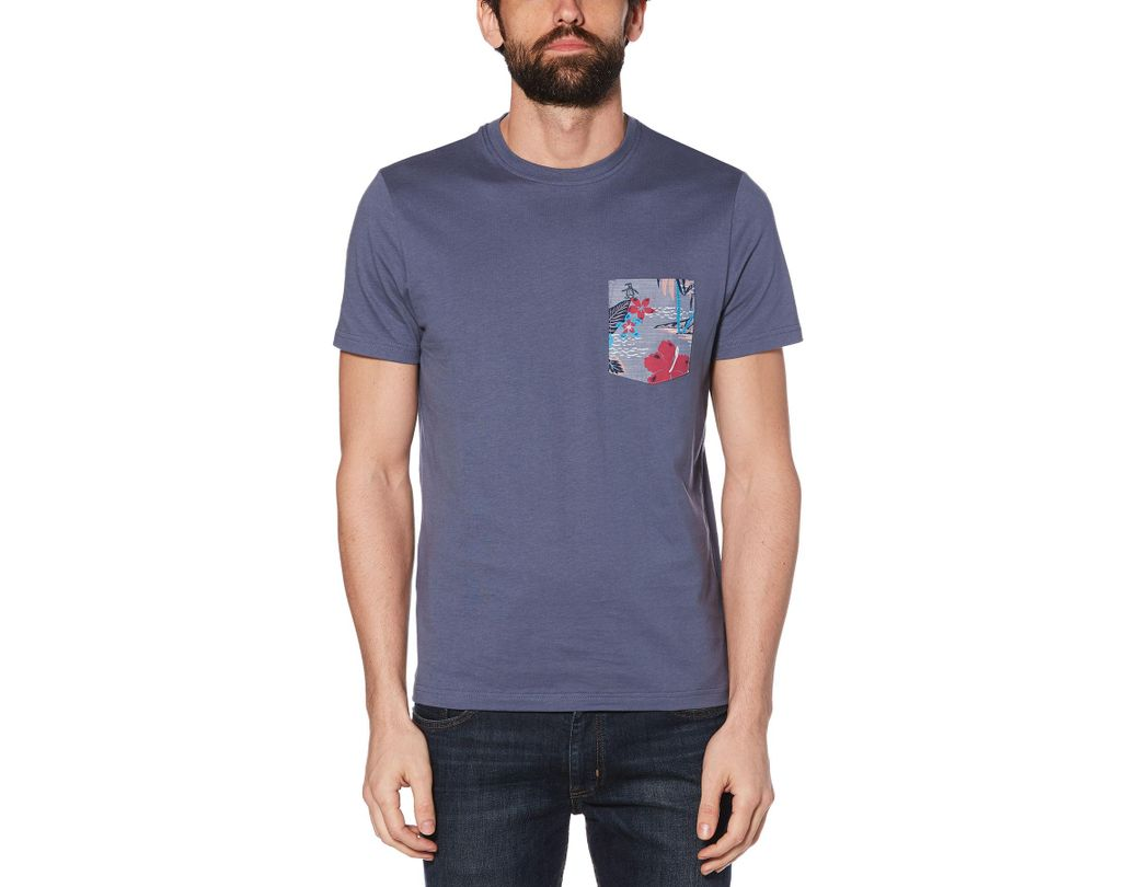 4f66b714 Lyst - Original Penguin Floral Island Print Pocket Tee in Blue for Men