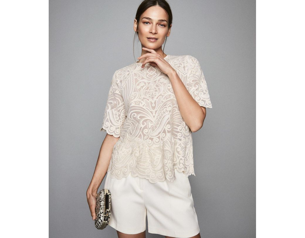 ae493085f3f07f Reiss Melania - Lace Top in White - Lyst