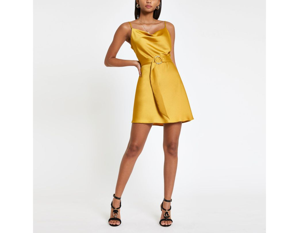 ebfac35707109 River Island Cowl Neck Belted Slip Dress in Yellow - Lyst