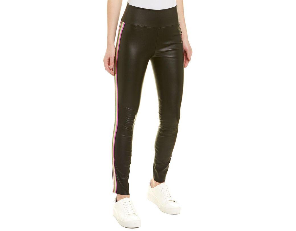 5ba8516e5c3229 Lyst - SPRWMN Rainbow Stripe Leather Ankle Legging in Black
