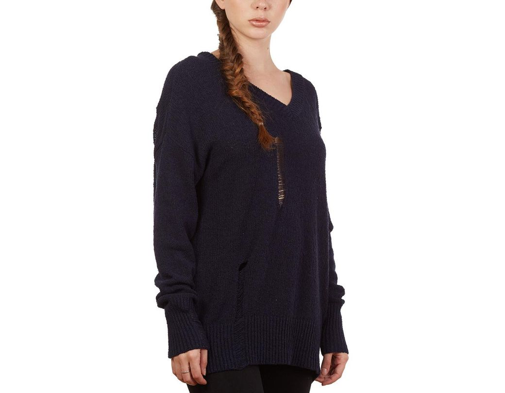 ea4a248fd3d Lyst - Sweet Romeo V Neck Ripped Detail Sweater in Blue