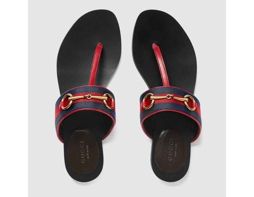 0cb80edd5 Long-Touch to Zoom. Long-Touch to Zoom. 1  2  3  4. Gucci - Black Blue  Leather Horsebit Thong Sandal ...