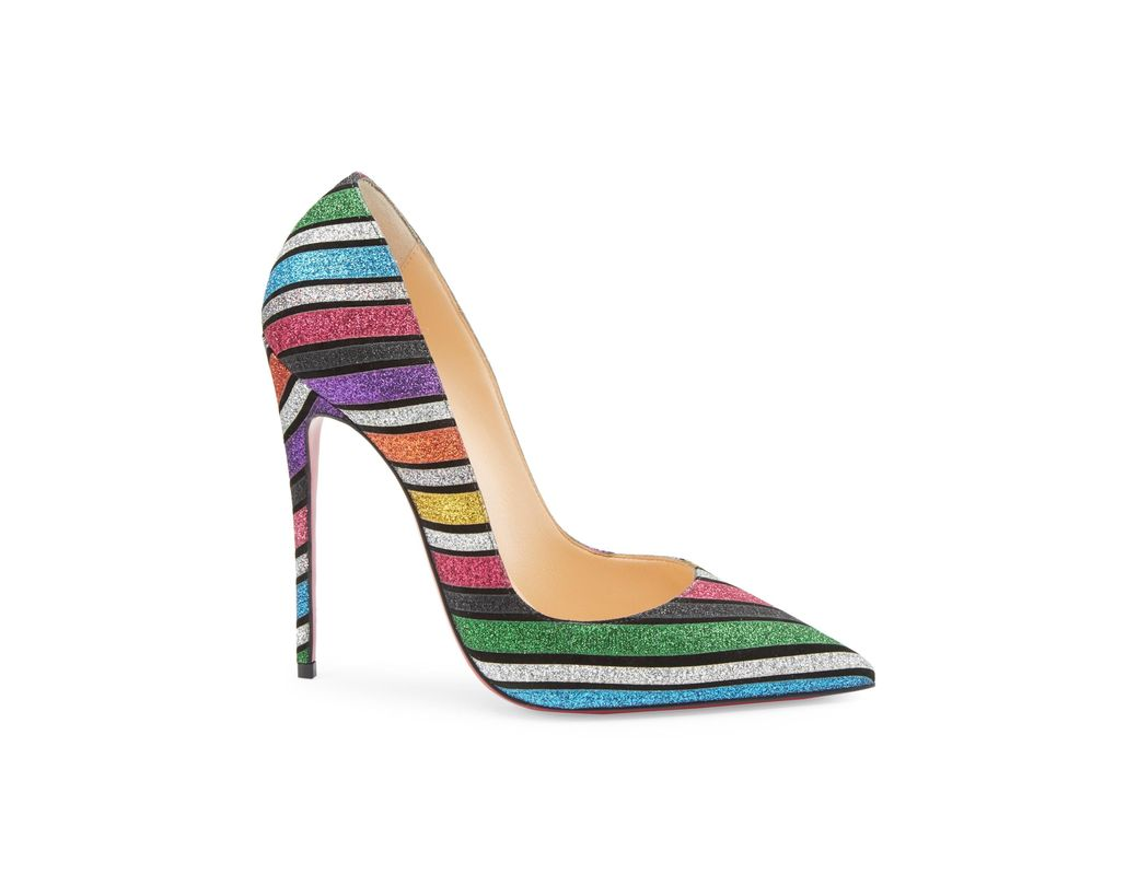 83667fe4538a Christian Louboutin. Women s Pigalle Follies 100 Striped Glitter Suede  Court Shoes