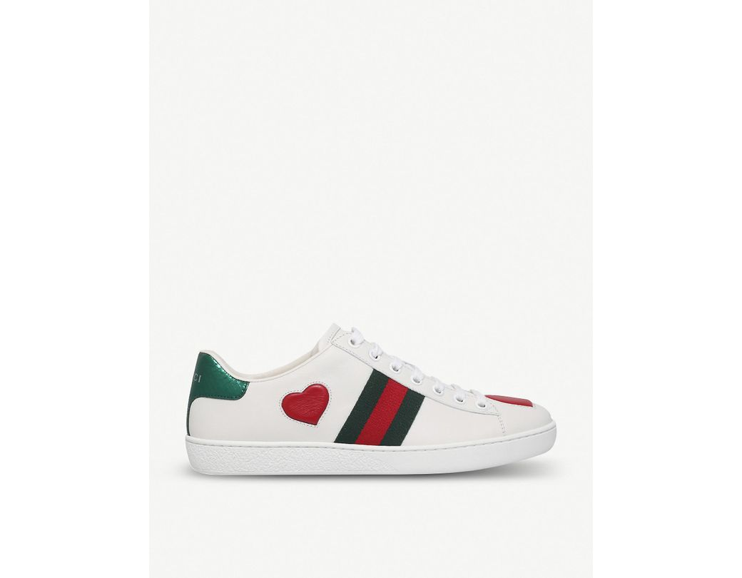 3cc2a2f653f Lyst - Gucci New Ace Heart-detail Leather Trainers in White - Save 12%