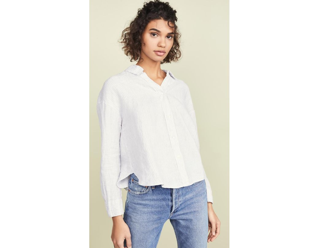 c4ea6817e89789 Lyst - James Perse Relaxed Drape Button Down Shirt in White