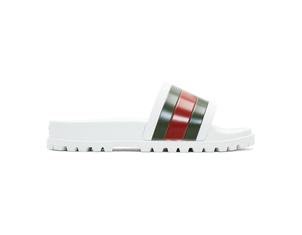 c45917e65361 Lyst - Gucci Web Slide Sandal in White for Men - Save 22%