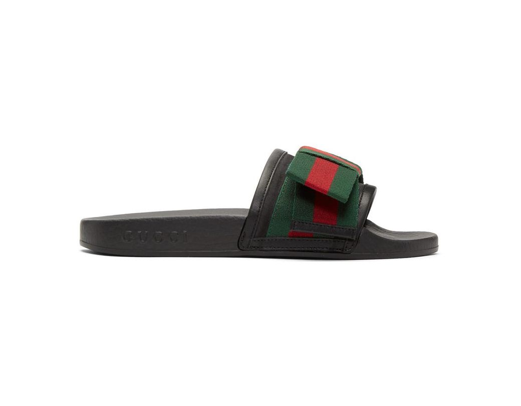 00aabde49c8 Lyst - Gucci Black Bow Pool Slides in Black - Save 32%