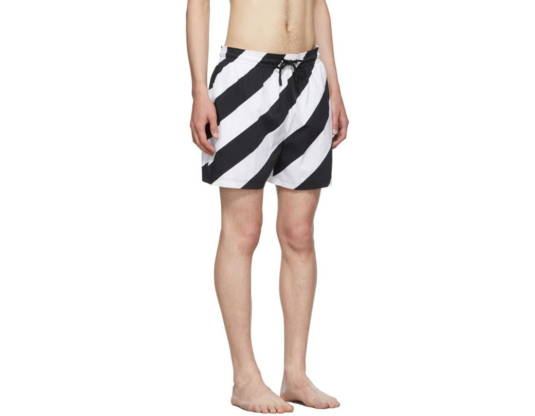 6b4a052dab Off-White c/o Virgil Abloh Black And White Vilebrequin Edition Striped Moorise  Swim Shorts in Black for Men - Lyst