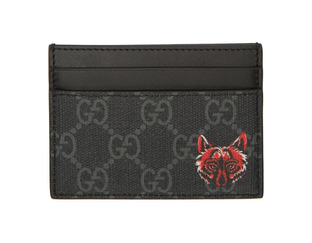 62d1b071888 Lyst - Gucci Black Fox GG Card Holder in Black for Men - Save 27%