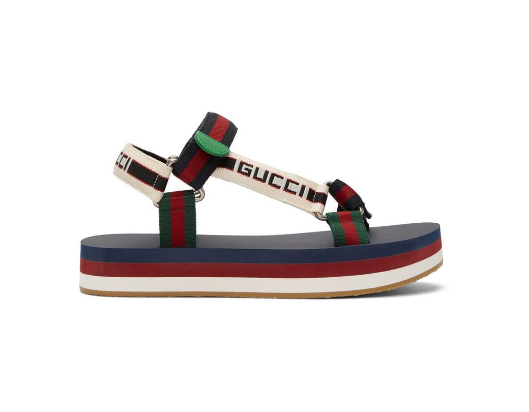 1c9ef6ece78 Lyst - Gucci Multicolor Bedlam Sandals in Blue for Men