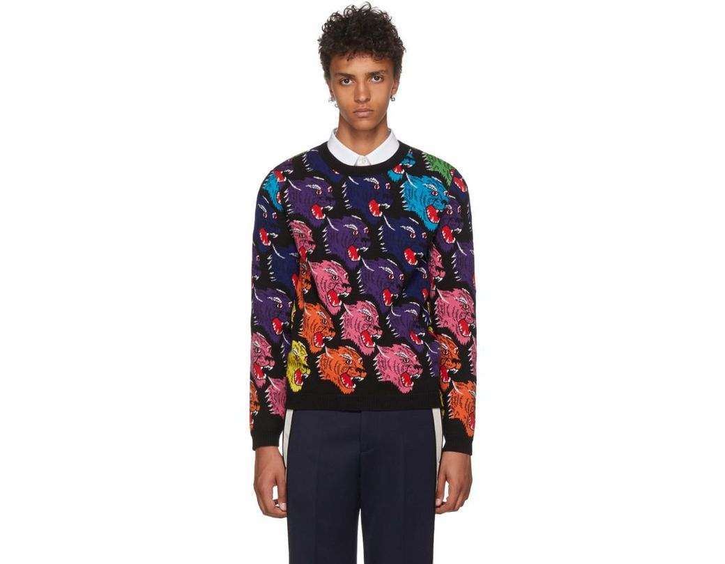fc86499c47b Gucci Black Panther Face Sweater in Black for Men - Lyst