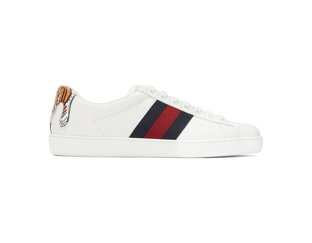 e868f69b63f Lyst - Gucci White Tiger Ace Sneakers in White for Men