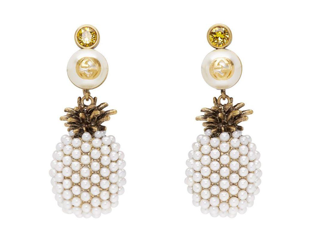 93f1ca98f6c Lyst - Gucci Gold Pineapple Drop Earrings in Metallic