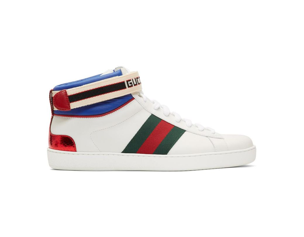 97b526a2a34 Lyst - Gucci White Striped New Ace High-top Sneakers in White for Men