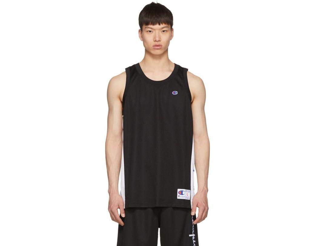 87502092 Lyst - Champion Black And White Mesh Logo Tank Top in Black for Men