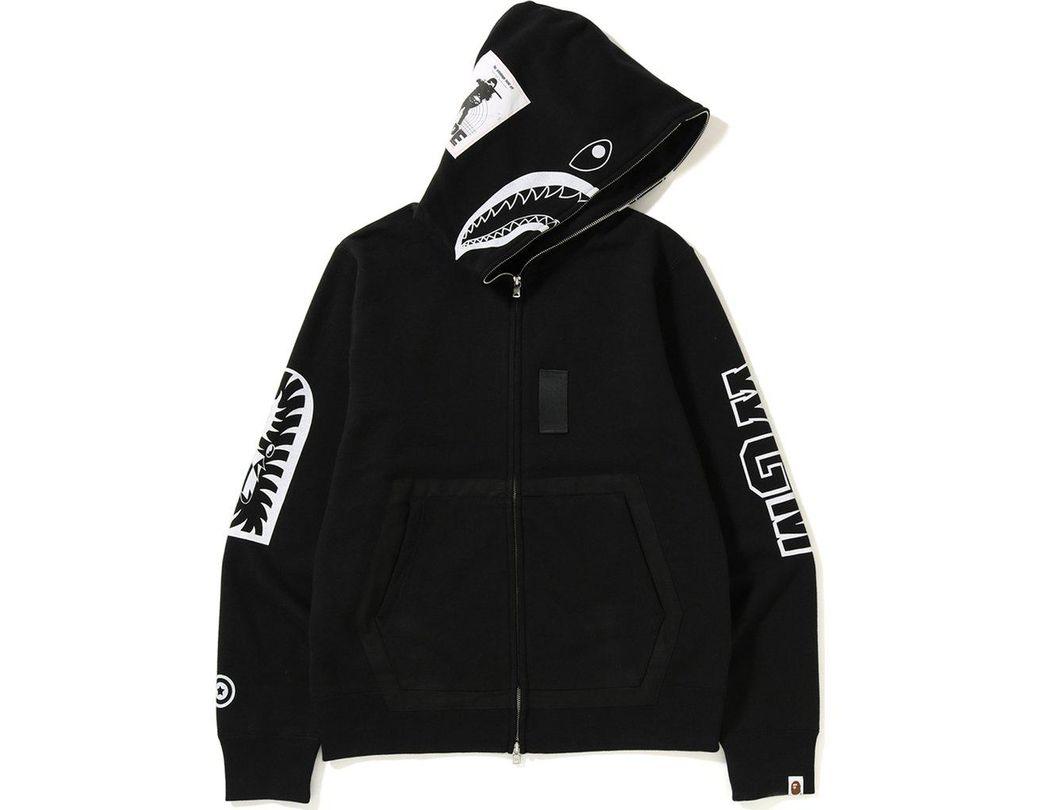 5b890b42 A Bathing Ape Military Shark Full Zip Hoodie Black in Black for Men - Lyst