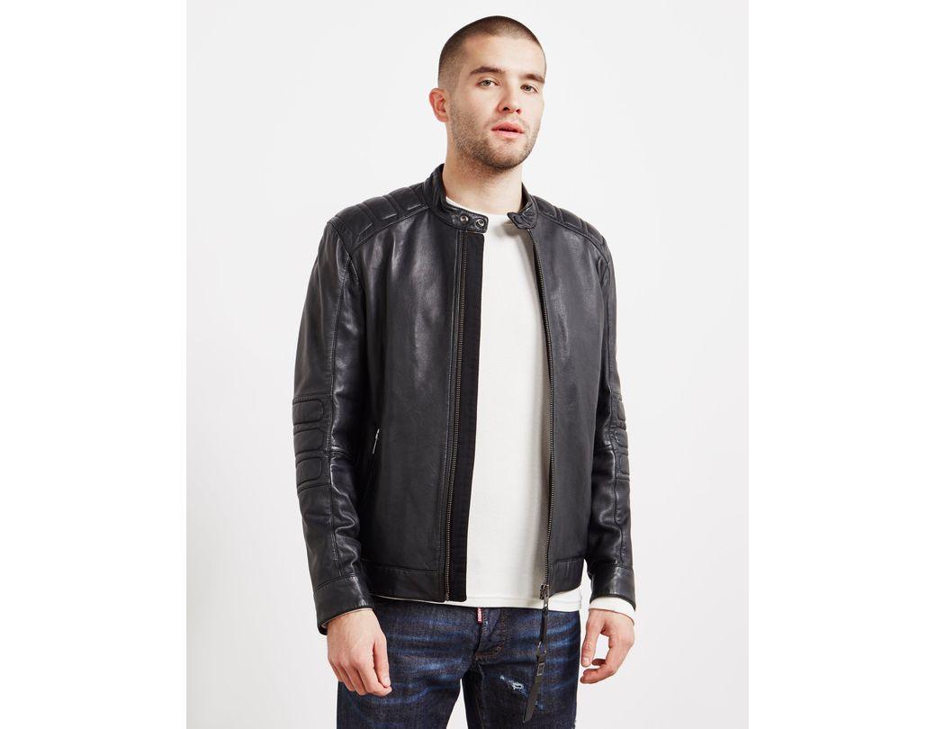 b35d109f0 BOSS Jagson Leather Biker Jacket Black in Black for Men - Save 50 ...