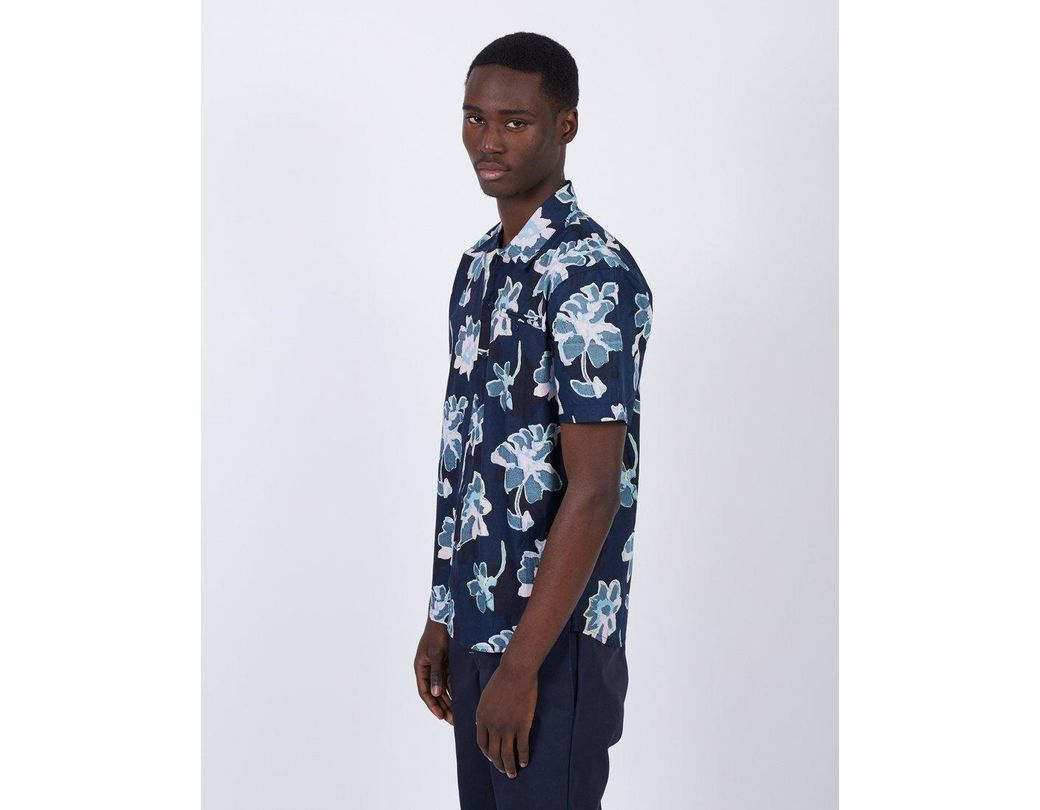 106221d0c38a The Idle Man Short Sleeve Printed Shirt Navy in Blue for Men - Save ...