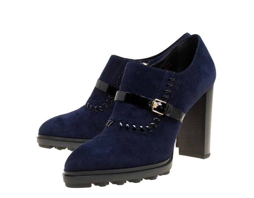 ccc5da818b4 Tod's Oxford Blue Suede Block Heel Ankle Booties Size 40.5 in Blue - Lyst