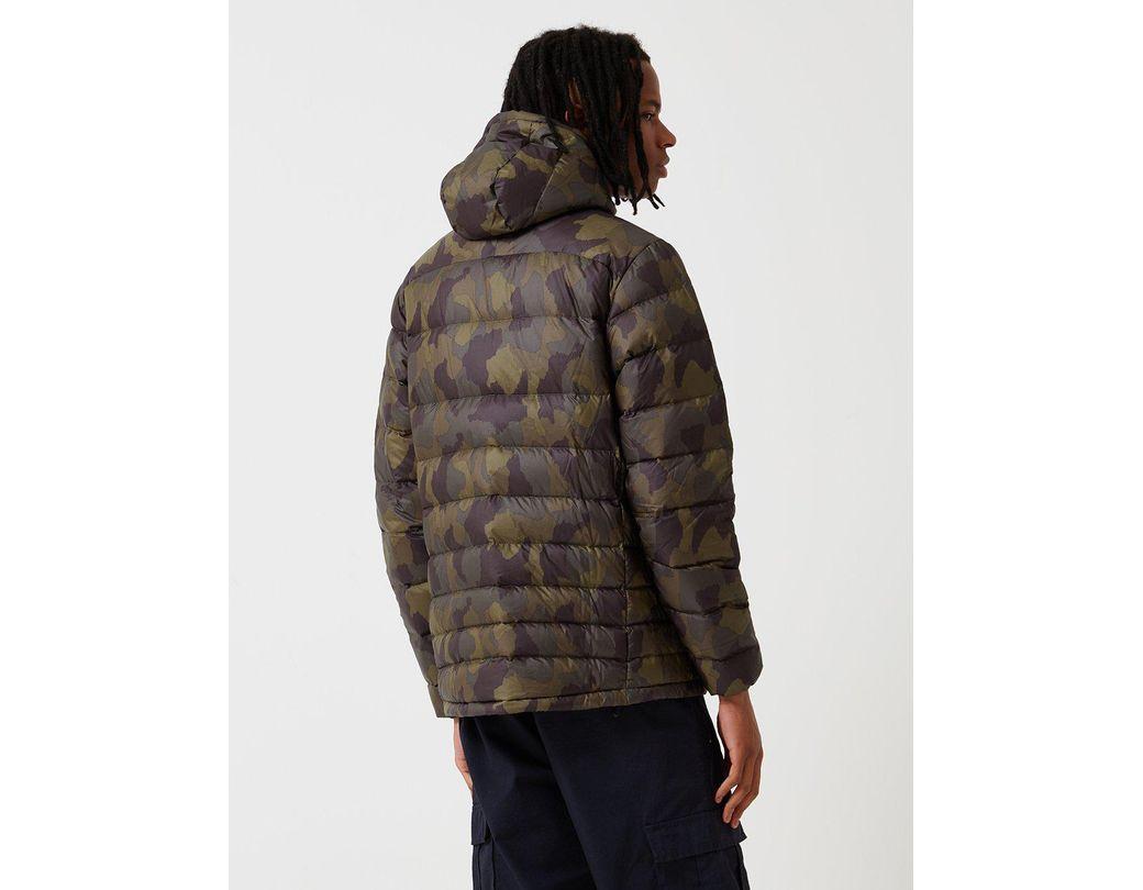 32ddf54263740 Patagonia Hi Loft Down Bunker Camo Hooded Jacket in Black for Men - Lyst