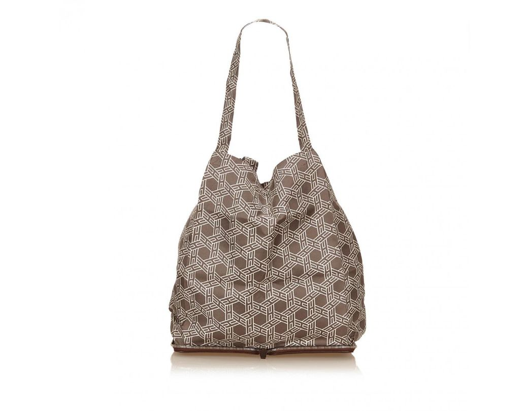 6a08700e2886 Lyst - Hermès Pre-owned Silky Pop Brown Silk Handbags in Brown