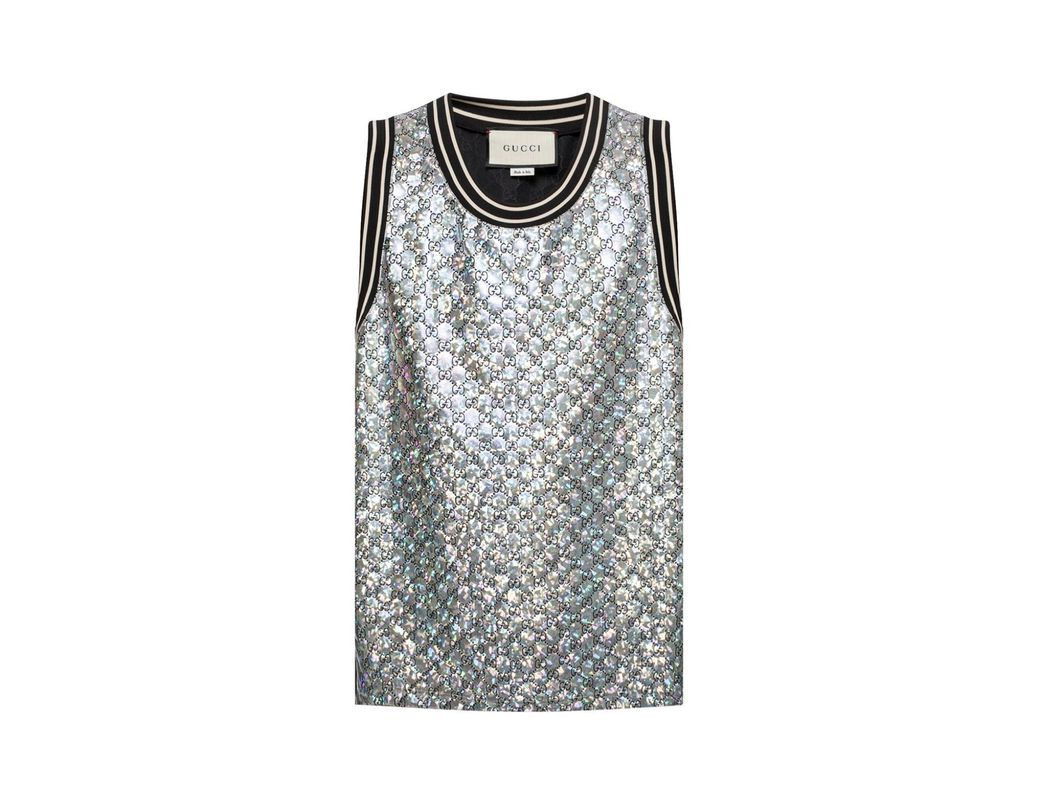 5c971d5e445 Lyst - Gucci Quilted GG Tank-top in Metallic for Men - Save 38%