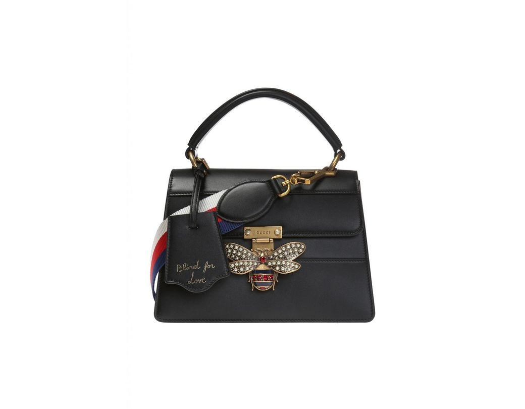 e91b5e461f0 Lyst - Gucci  queen Margaret  Shoulder Bag With A Bee Motif in Black