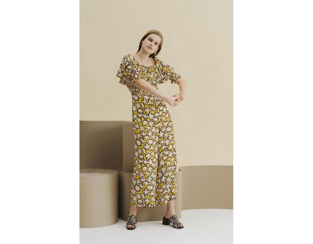 0a49e8d2e761 Whistles Rhea Print Silk Jumpsuit in Yellow - Lyst