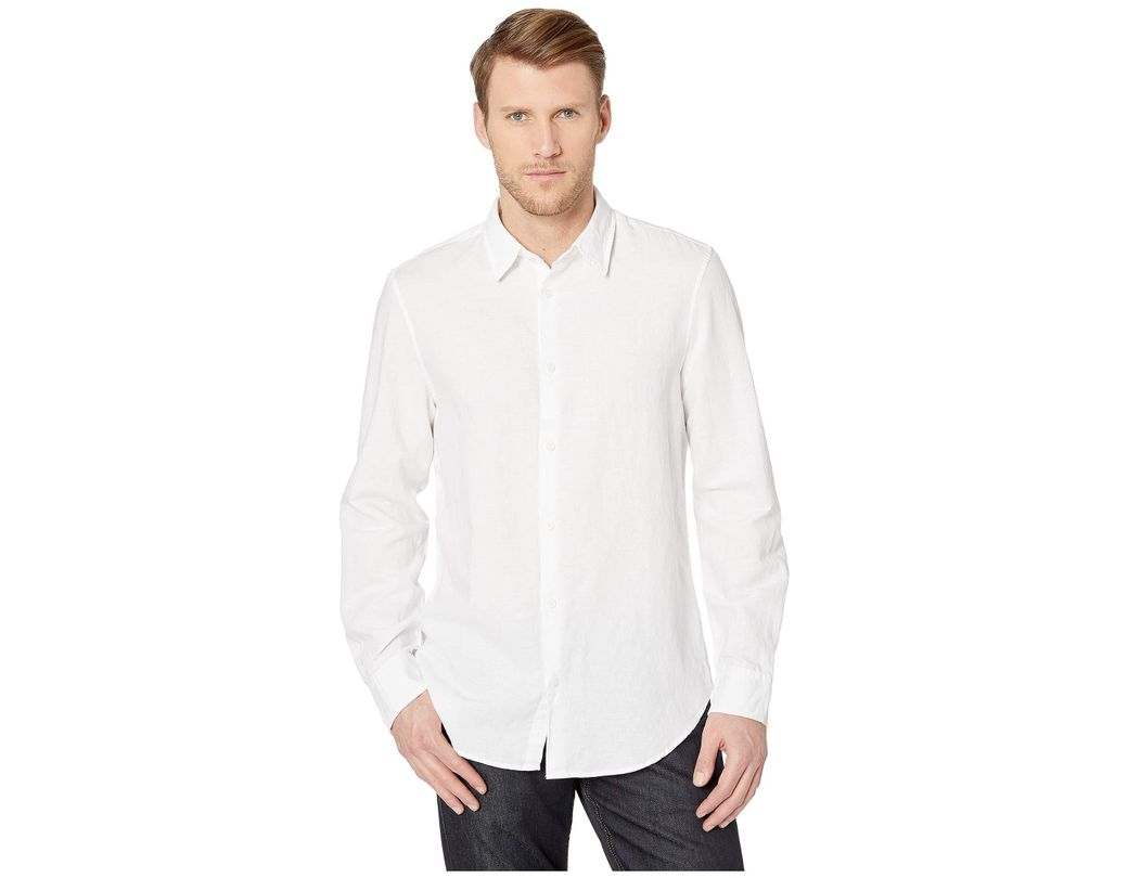 707251484b4d Lyst - Calvin Klein Long Sleeve Cotton Linen Button Down Shirt (sea ...