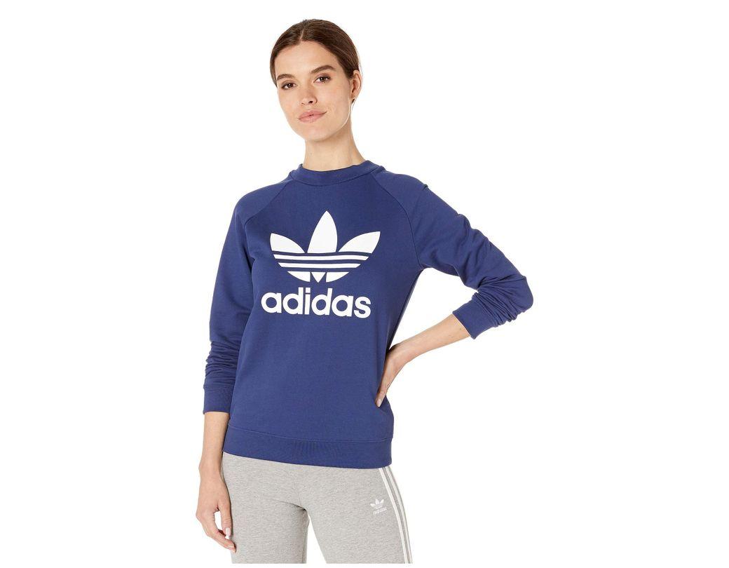 7d65b651fda7 Lyst - adidas Originals Trefoil Crew Sweatshirt (dust Pink) Women's ...