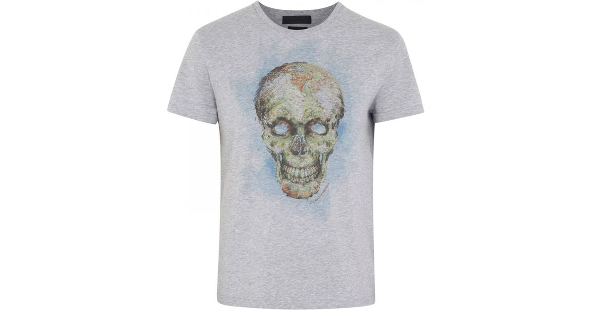 204c67dcfc311c Alexander McQueen Map Skull Print Cotton Jersey T-shirt in Gray for Men -  Lyst
