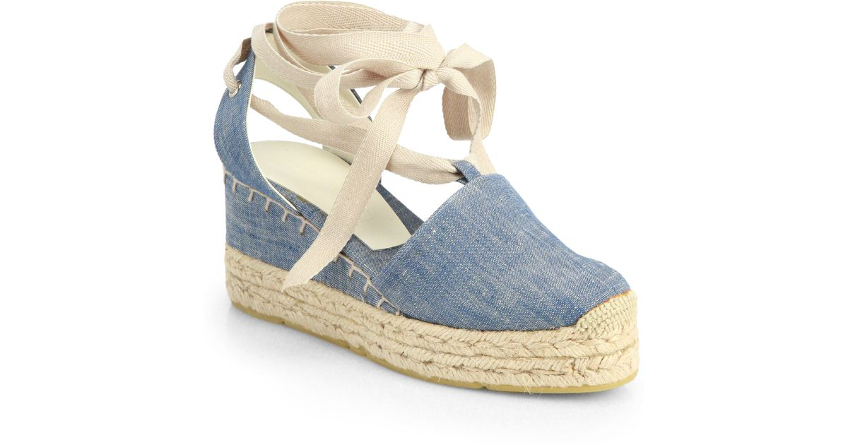 Ralph Lauren Collection Uma Denim Espadrille Wedge Sandals