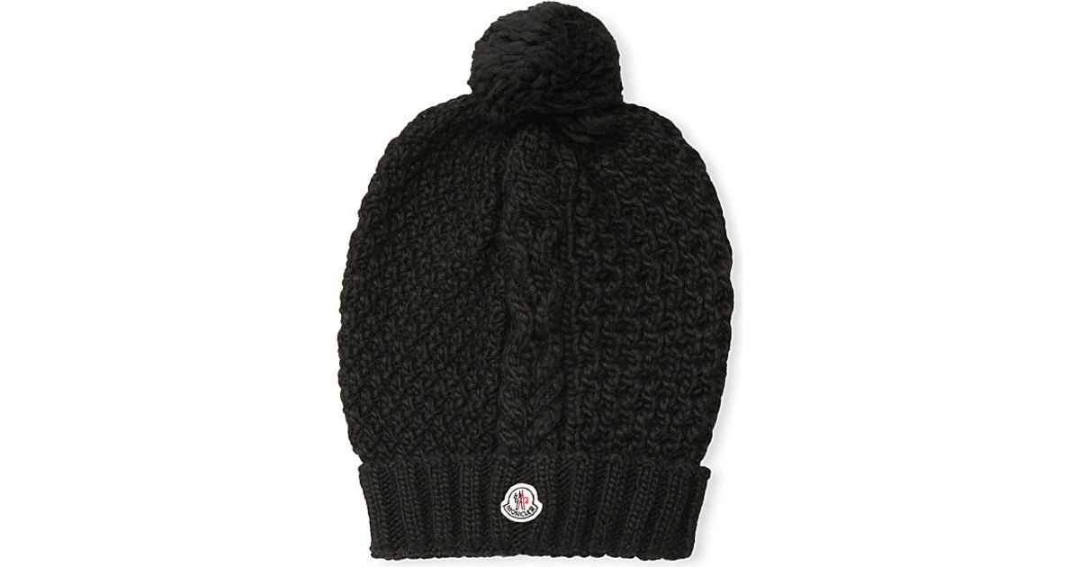 7cb1a59bf8e42 ... new zealand moncler cable knit wool pom pom hat womens black in black  lyst 9a306 fb056