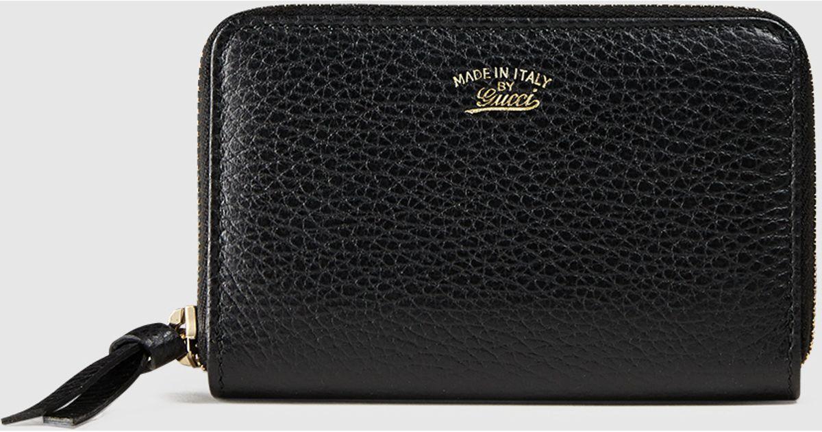 789ecf4c594b Lyst - Gucci Swing Leather Zip Card Case in Black
