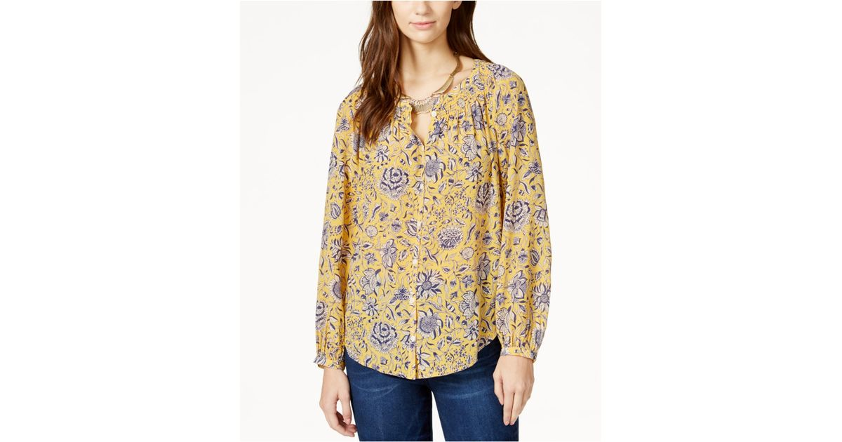 Lucky brand printed button down peasant shirt in metallic for Lucky brand button down shirts